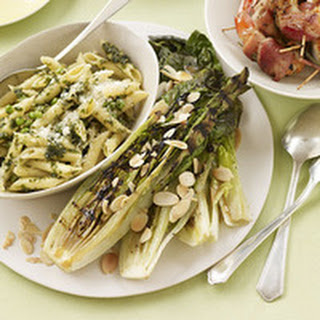Grilled Sorta-Caesar with Pancetta Shrimp and Pesto Penne