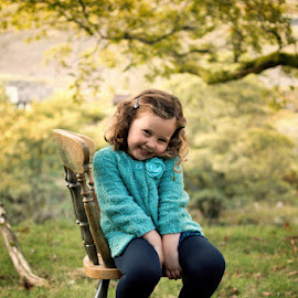 Autumn Sitting by Dominic Lemoine Photography - Babies & Children Child Portraits ( chair, sitting, girl, autumn, outdoor )