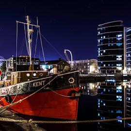 Marina by Sergiusz Rydosz - City,  Street & Park  Night ( uk, sky, stars, buildings, night, boat )