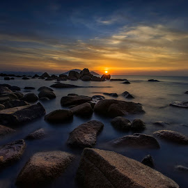 After Sunset by Kenny Tsai - Landscapes Sunsets & Sunrises ( sunset, seascapes, sea, stones, landscapes )