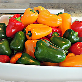 Stop-light Peppers by Tamsin Carlisle - Food & Drink Fruits & Vegetables ( raw, dish, peppers, uncooked, red, fresh, green, bell peppers, capsicum, vegetables, ingredient, yellow )
