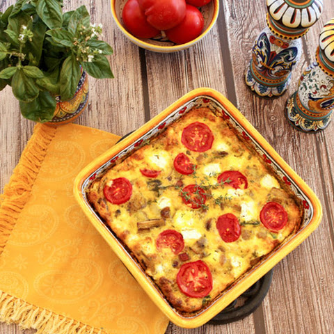 Baked Frittata With Potatoes, Mushrooms, Tomatoes & Goat Cheese