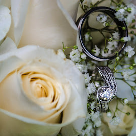 Rings by Meranda Schaub - Wedding Details ( clear, up close, rose, white, rings )