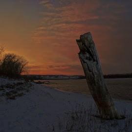 The setting by Dustin White - Landscapes Sunsets & Sunrises ( water, hdr, sunset, snow, night, log )