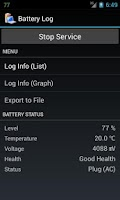 Screenshot of Battery Log