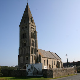 Church at Collville Sur Mer by Jan - Buildings & Architecture Public & Historical ( history, ww2, utah beach, big red 1, normandy, d-day )