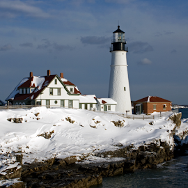 Winter at Portland Head Light by Lloyd Alexander - Buildings & Architecture Public & Historical ( lloyd alexander, winter, maine, snow, lighthouse, ocean, portland head light, atlantic, light )