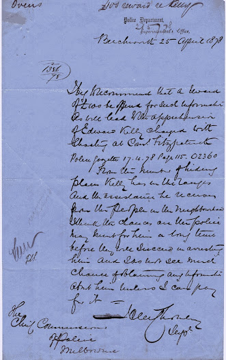 The police realise that money will be needed to gather information about Ned Kelly and his location in the hills. A reward of 100 pounds is offered for information leading to the arrest of Edward Kelly. This letter details the reason inspector Chomley needs financial support. In short, he does not believe locals will co-operate with the police without financial incentive.