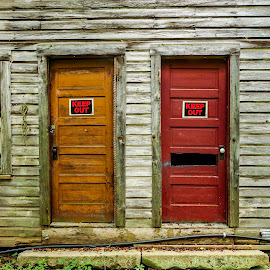 Doors Keep Out by Andy Vic Lindblom - Buildings & Architecture Other Exteriors ( orange, old, red, wood, panels, green, door, house, decay )
