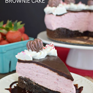 Strawberry Mousse Brownie Cake