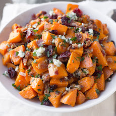 Warm Roasted Sweet Potato Salad with Apple-Smoked Bacon, Blue Cheese ...