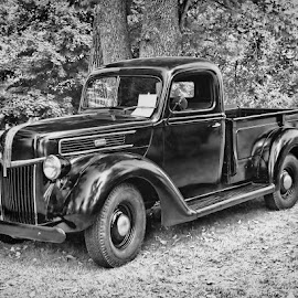 Old Reliable by Luanne Bullard Everden - Transportation Automobiles ( automobiles, trucks, black and white, vehicles, antiques )