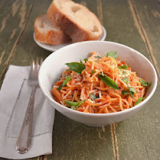 Angel Hair Pasta in a Light Velvety Tomato Cream Sauce with Fresh Thai Basil