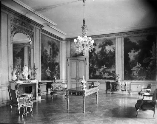 Acquisitions from the Morgan collection included the Fragonard panels shown here, which were installed in the former drawing room of Frick's residence.