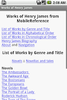 Screenshot of Works of Henry James