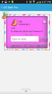 GO SMS THEME/StarsGalore - screenshot