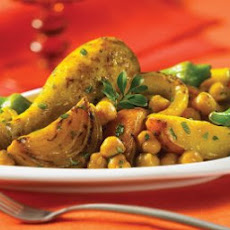 Golden Chicken with Potatoes & Chickpeas