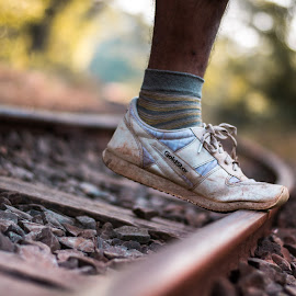 shoe by Aziz Merchant - Artistic Objects Clothing & Accessories ( shoes, nikon d3100, track, 50mm, legs, nikon )