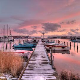 Rosnæs - the small port by Kim  Schou - City,  Street & Park  Neighborhoods ( port, hdr, dk, sunset, boats, jetty, nakskov rosnaes, lolland,  )