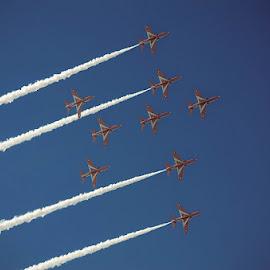 Red Arrows by Fitria Ramli - Transportation Airplanes ( red arrows, airplane, show, transportation, nikon, airshow,  )