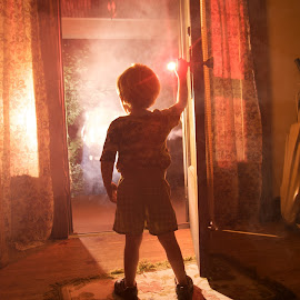 Close Encounters by Nicole Meisberger - Babies & Children Children Candids ( spielberg, spaceship, door, alien, encounters, boy, close )