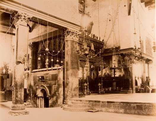 Gate of the grotto where Jesus was born in the Basilica