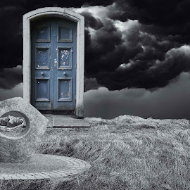 If the world stops now ! by D K - Digital Art Abstract ( nature, destruction, lonely, alone, man, end, human )