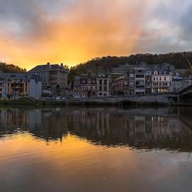 Dinant Sunset by Stephen Bridger - City,  Street & Park  Neighborhoods ( europe, dinant, sunset, belgium, travel, bridge, travel photography, river )