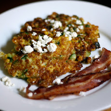 Dinner Tonight: Corn Cakes with Goat Cheese and Bacon
