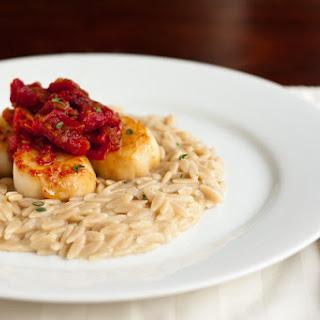 Scallops with Sun Dried Tomato Jam and Goat Cheese Orzotto