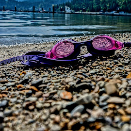 Honeysuckle Beach  by Barbara Brock - Artistic Objects Clothing & Accessories ( goggles abandoned on the sand, sandy beach, swimming goggles, goggles, lake, beacj,  )