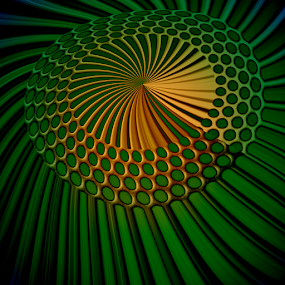 green and gold by Ag Adibudojo - Abstract Patterns ( abstract, pattern, green, umbrella, gold )