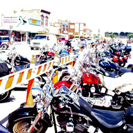 Sturgis Line-up by Kaye Petersen - Transportation Motorcycles ( motorcycles, parking, sturgis, line-up, south dakota, digital, city,  )