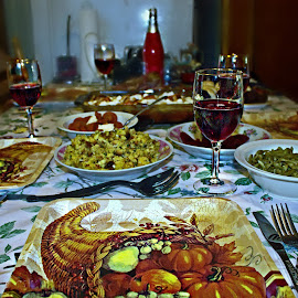 Happy Thanksgiving by Catherine Melvin - Food & Drink Cooking & Baking ( ham, turkey day, home meal, thanksgiving, wine glasses, toasting,  )
