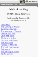Screenshot of Works of Alfred Lord Tennyson