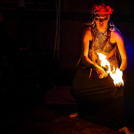Fire Dancer by Paulo Peres - People Musicians & Entertainers ( woman, performer, performing arts, belly dancer, dance )