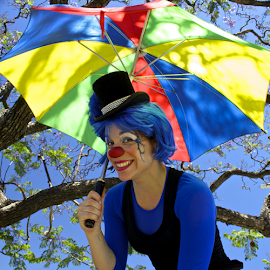 Lady Green Apple by Venetia Featherstone-Witty - People Musicians & Entertainers ( female clown, colorful clown, clown, clown with umbrella, lady green apple,  )