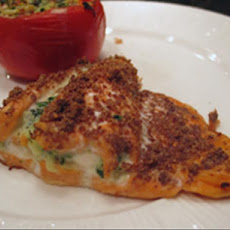 Salmon Stuffed W/Spinach Onion & Cheese