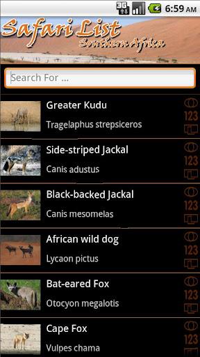 Safari List - Southern Africa