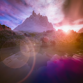 Be Still by Joseph Belcher - Illustration Sci Fi & Fantasy ( waterscape, sunset, landscape )