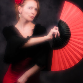 Tribute for Sara Moon. Flamenco dancer by Vladimir Firsov - Artistic Objects Clothing & Accessories ( sara moon, russian woman, flamenko, fan, dance, monocle )