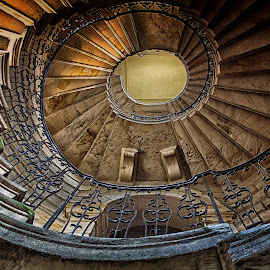 right to the top by Phil Robson - Buildings & Architecture Architectural Detail ( spiral staircase, northumberland, north east england, old staircase, deleval hall )