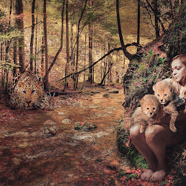 Love for Cheetahs by Jesse Rodriguez Jr - Digital Art People ( cheetah, sexy, cat, girl, forrest, leopard, cub, animal, river )