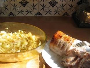 rôti de porc oignons
