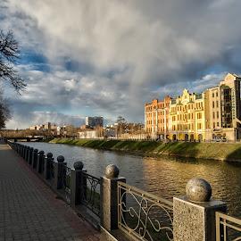 Lopan embankment. Kharkov. Ukraine by Igor Nayda - City,  Street & Park  Amusement Parks ( kharkov, blue sky, ukraine, promenade, riverside, cloudy, summer, cityscape, day, embankment, kharkiv, river )