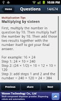 Screenshot of Rapid Math Tricks & Tips