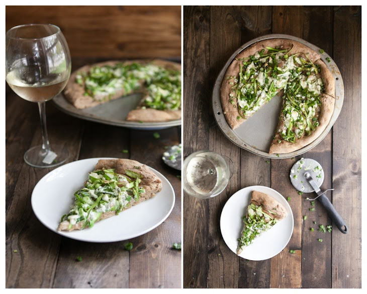 Shaved Asparagus and Gorgonzola Pizza