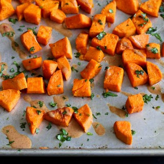 Roasted Sweet Potatoes with Almond Butter Sauce