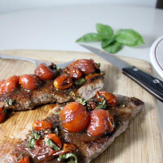 Pan Seared Steak with Balsamic and Basil Cherry Tomatoes