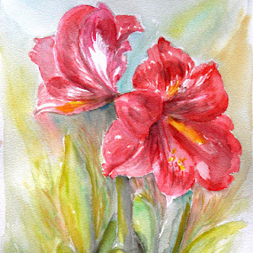 Lily Red by Jasna Dragun - Painting All Painting ( watercolor, from my own photo, painting, 42x30 cm )
